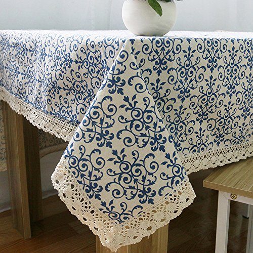 Ustide Blue and White Table Cloth with Lace Cotton Print Chinese Style Rectangular Dinning Tablecloths Cover , 55''x98''