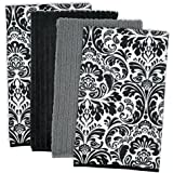 "DII Cleaning, Washing, Drying, Ultra Absorbent, Microfiber Damask Dishtowel 16x19"" (Set of 4) - Black"