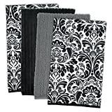 """DII Microfiber Multi-Purpose Cleaning Towels Perfect for Kitchens, Dishes, Car, Dusting, Drying Rags, 16 x 19"""", Set of 4 - Black Damask"""
