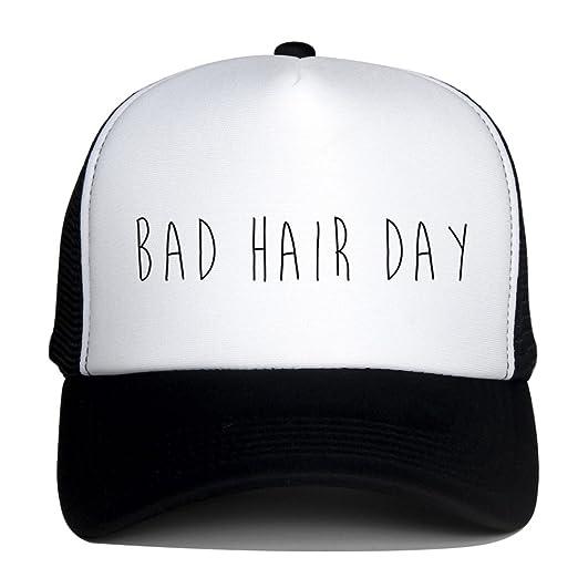 Trucker Hats for Women Men Bad Hair Day Logo Print Snapback Summer Mesh Caps  (Black a8130ff9afe