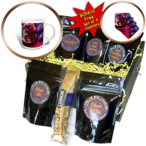 3dRose Alexis Photography - Food Fruit Mix - Half of pomegranate, purple grapes, red background - Coffee Gift Baskets - Coffee Gift Basket (cgb_270469_1)