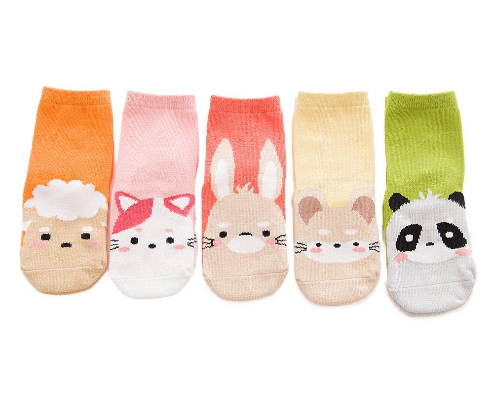 YEAPOOK Baby Socks Cute Cartoon Cotton Crew Socks Fuzzy Animal Socks Toddler Newborn Winter Socks for Girls Boys Babies-5 Pairs(Sheep+Cat+Panda+Mouse+Rubbit,S(1-3t))