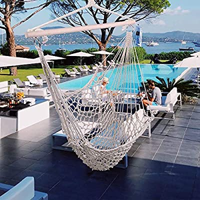 Xixou Cotton Hanging Rope Air/Sky Chair Swing Beige Ship from USA Warehouse : Garden & Outdoor