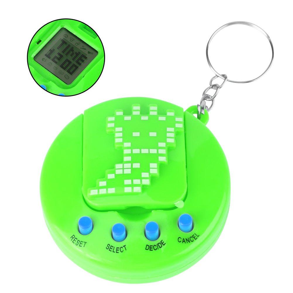GLOGLOW Pack of 2 Green Electronic Pets Digital Pet Machine Pet Virtual Digital Electronic Game Machine E-pet Handheld Game Machine Toy with Retro Nostalgic Keychain Kids Gift Toys for Christmas Birthday