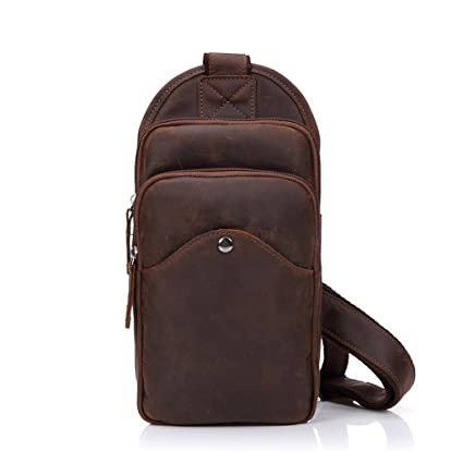 Image Unavailable. Image not available for. Color  Xingqianru Leather Chest Bag  Men s Japanese and Korean Style Retro Messenger Bag Crazy Horse Skin Small eea3660eb1b80