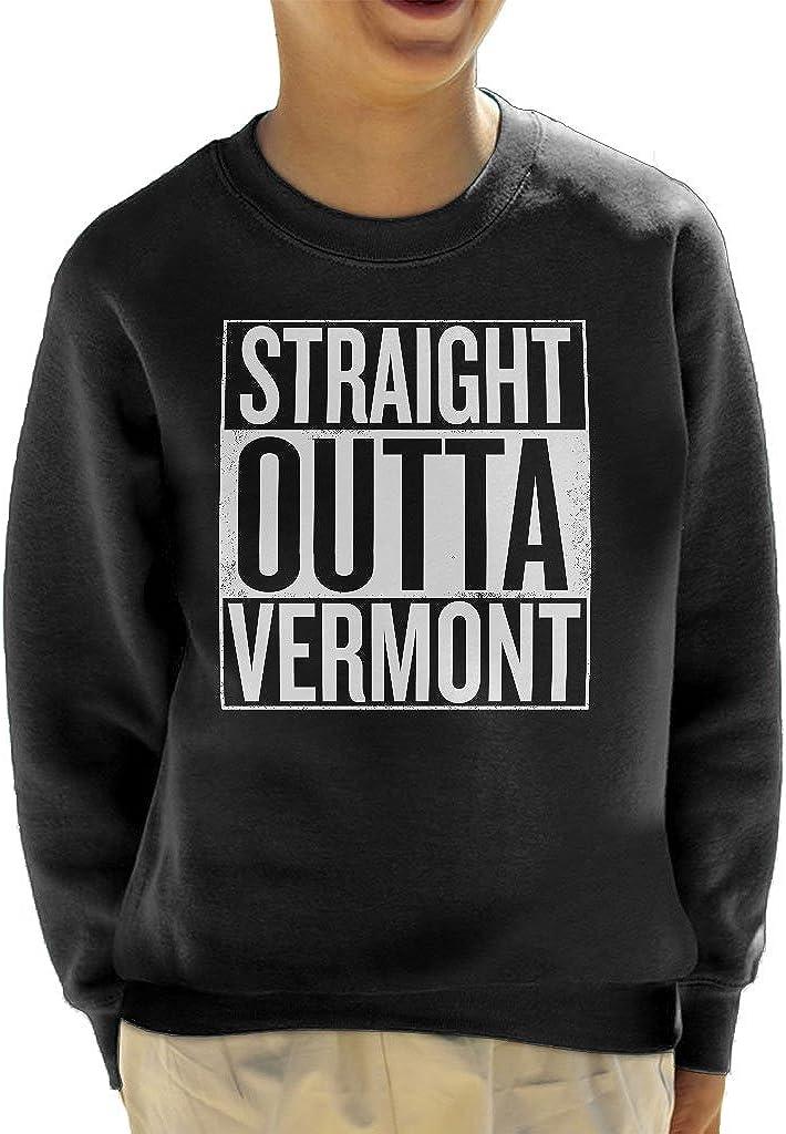 Coto7 White Text Straight Outta Vermont US States Kids Sweatshirt