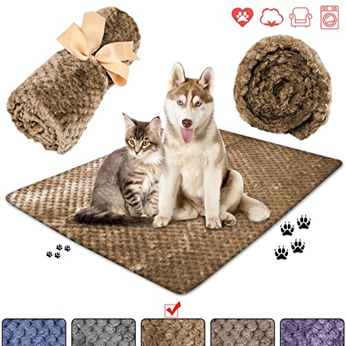 (wonlex Super Soft and Fluffy Pet Blanket, Reversible Microplush Blankets for Dog Cat Puppy Kitten, Snuggle Blanket for Couch, Car, Trunk, Cage, Kennel, Dog House 50