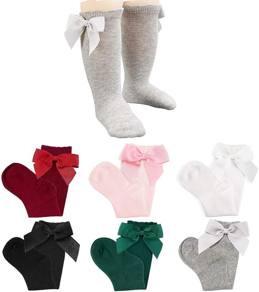 CozyWay Baby Girls Knee High Socks Newborn Little Kids Bow Long Stockings Infants Toddlers Ruffled Princess Cute Bow Socks