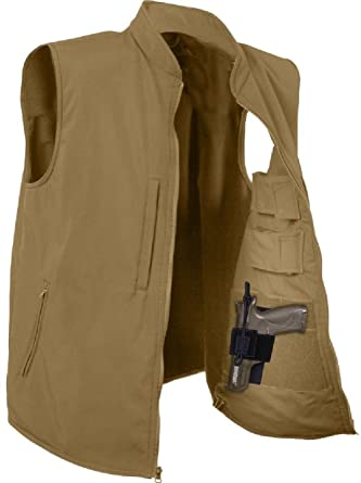 Amazon.com  Concealed Carry Vest Coyote Brown Soft Shell Tactical ... 3ea1a269663