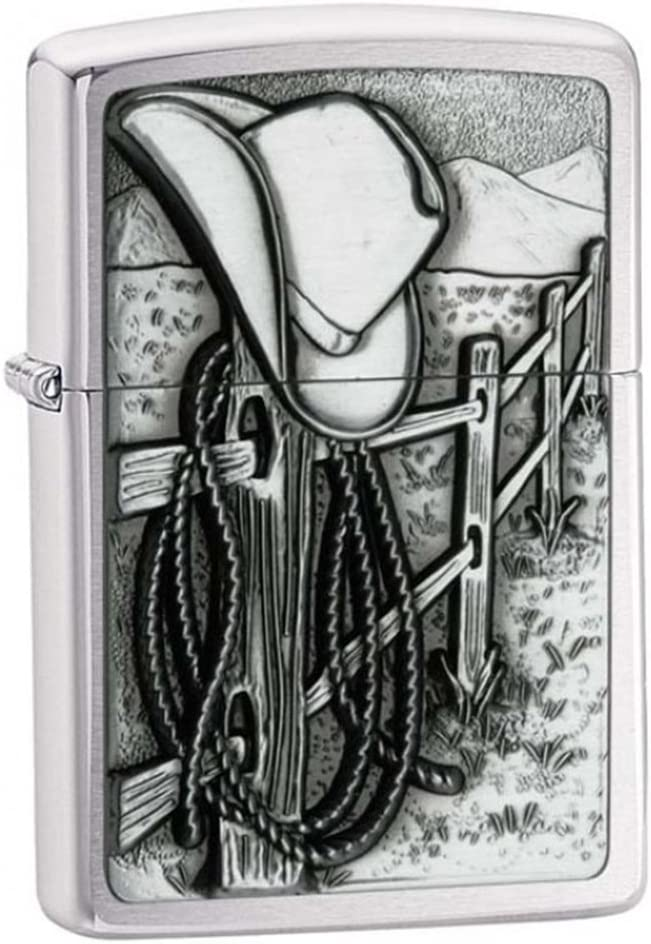 Zippo Personalized Message Engraved on Backside Customized Resting Cowboy Country Emblem Windproof Lighter