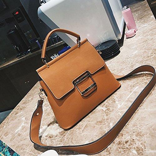 Handtasche Schultertasche braun Handtaschen Lock Casual Diagonal Tasche Tote Mattierte w50Apq8xx