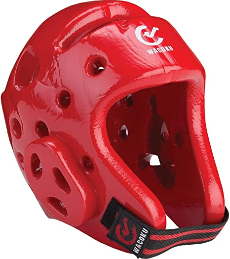 Red Medium Wacoku Unisexs WT Approved Dipped Foam Head Guard