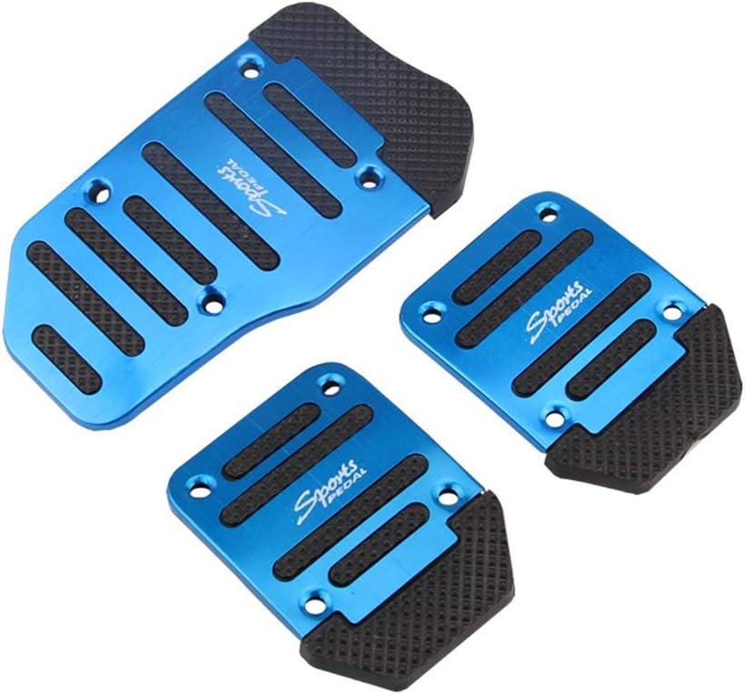 Couvre-P/édale dEmbrayage Lot de Couvre-p/édales de Voiture en Alliage d/'aluminium Embrayage Acc/él/érateur et repose-pied frein 3 Pi/èces P/édales de Frein de Voiture antid/érapantes Bleu
