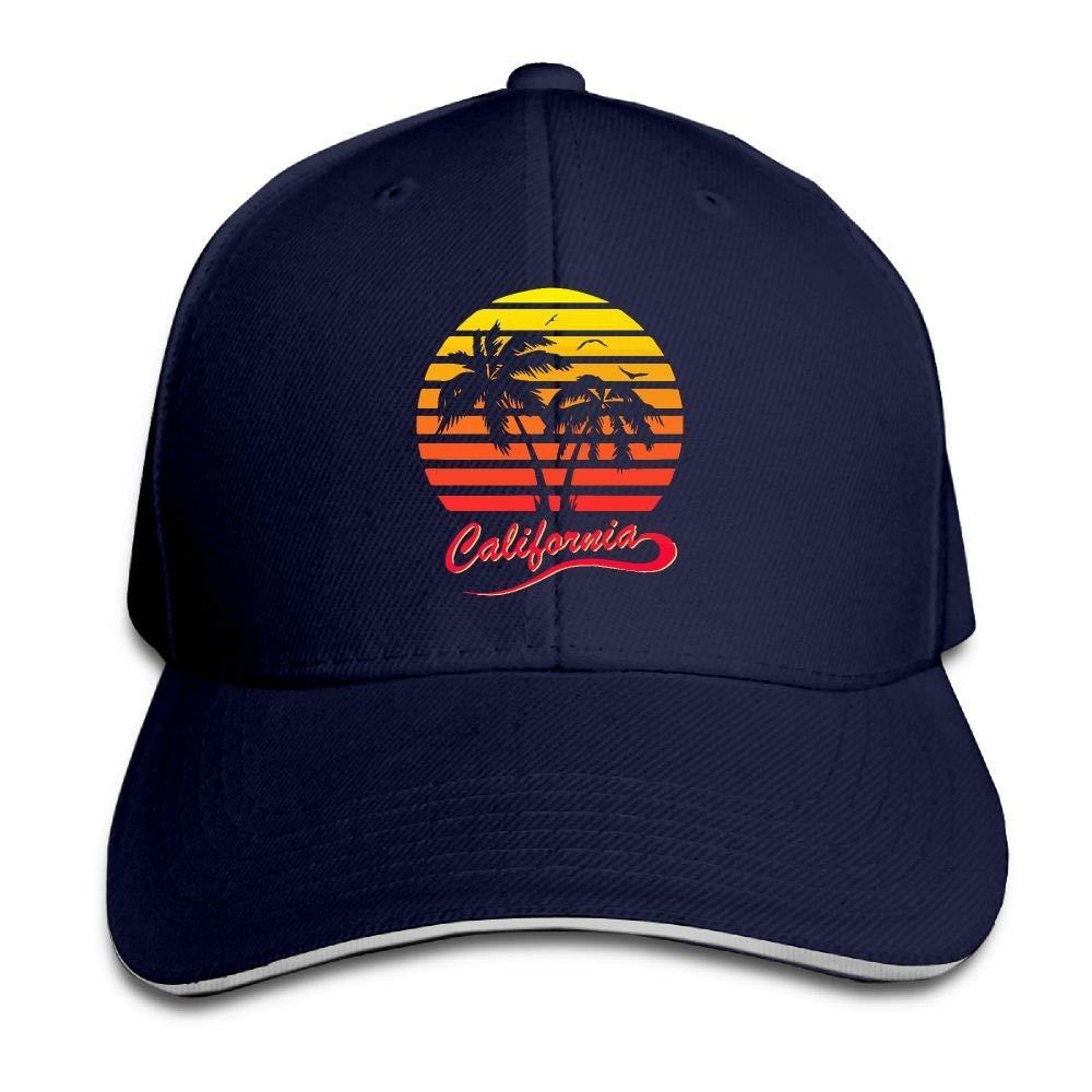 JustQbob1 California 80s Sunset Outdoor Snapback Sandwich Cap Adjustable Baseball Hat Street Rapper Hat