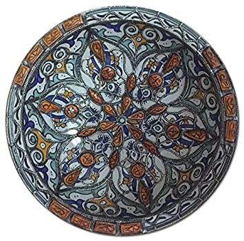 Moroccan Wall Decor Centerpiece Large Ceramic Bowl Plate Inlay Camel Bone  Metal (PLATE 2)