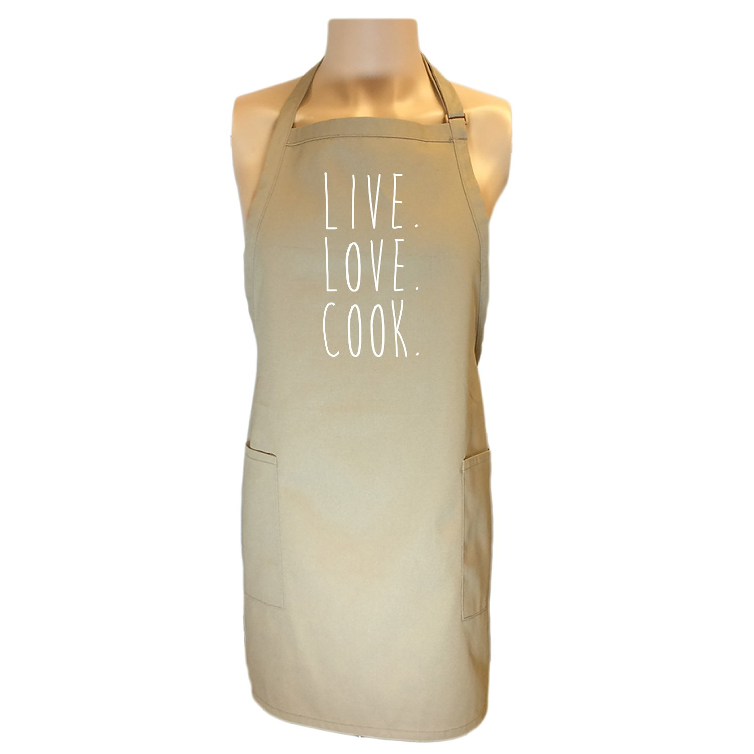 Live. Love. Cook. Apron with 2 patch pockets in Khaki - One Size