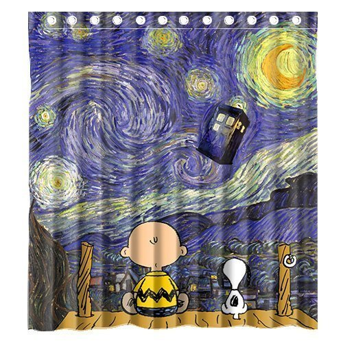 Mirryderr Custom Cute Snoopy with Starry Night Tardis Doctor Who Waterproof Polyester Fabric Bathroom Shower Curtain Standard Size ()