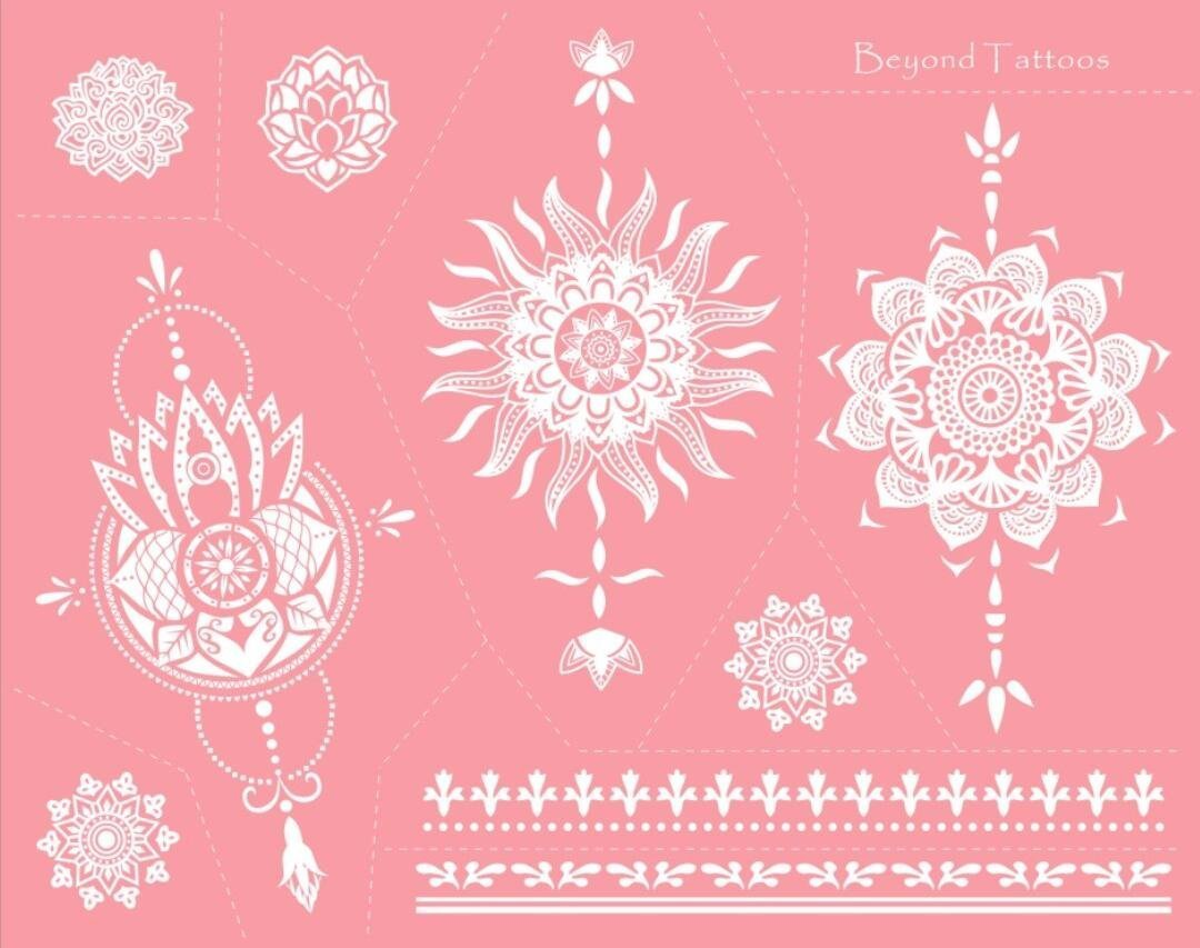 Reusable Micronet Mesh Stencil Tattoo Stencil Template 6 Large Sheet Set Pink by TIE (Image #7)