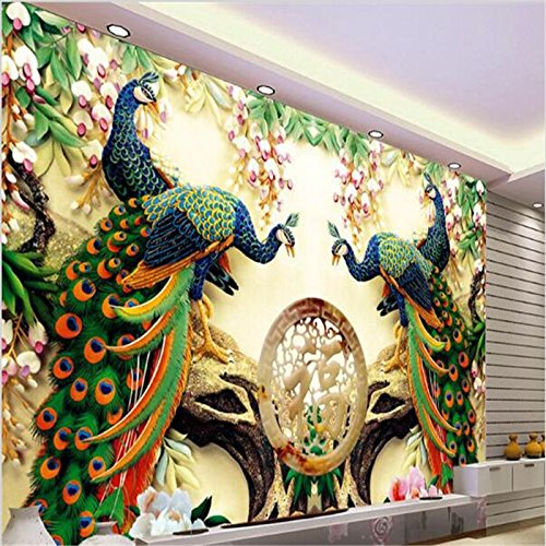 Sproud Painting Home Decor Peacock Green Branches Murales De Pared 3D Wallpaper Hotel Background Modern Mural For Living Room 300cmX210cm