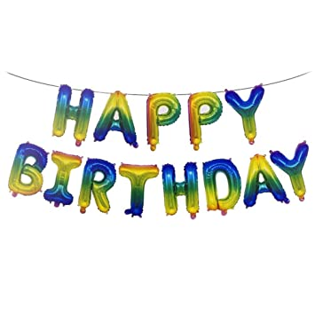 KFSO Happy Birthday Balloons BannerFoil Letters Mylar For Party Decoration