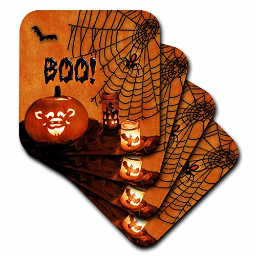 3dRose cst_52318_2 Boo Jack-O-Lantern, Bats and Spiders Happy Halloween Soft Coasters, Set of 8