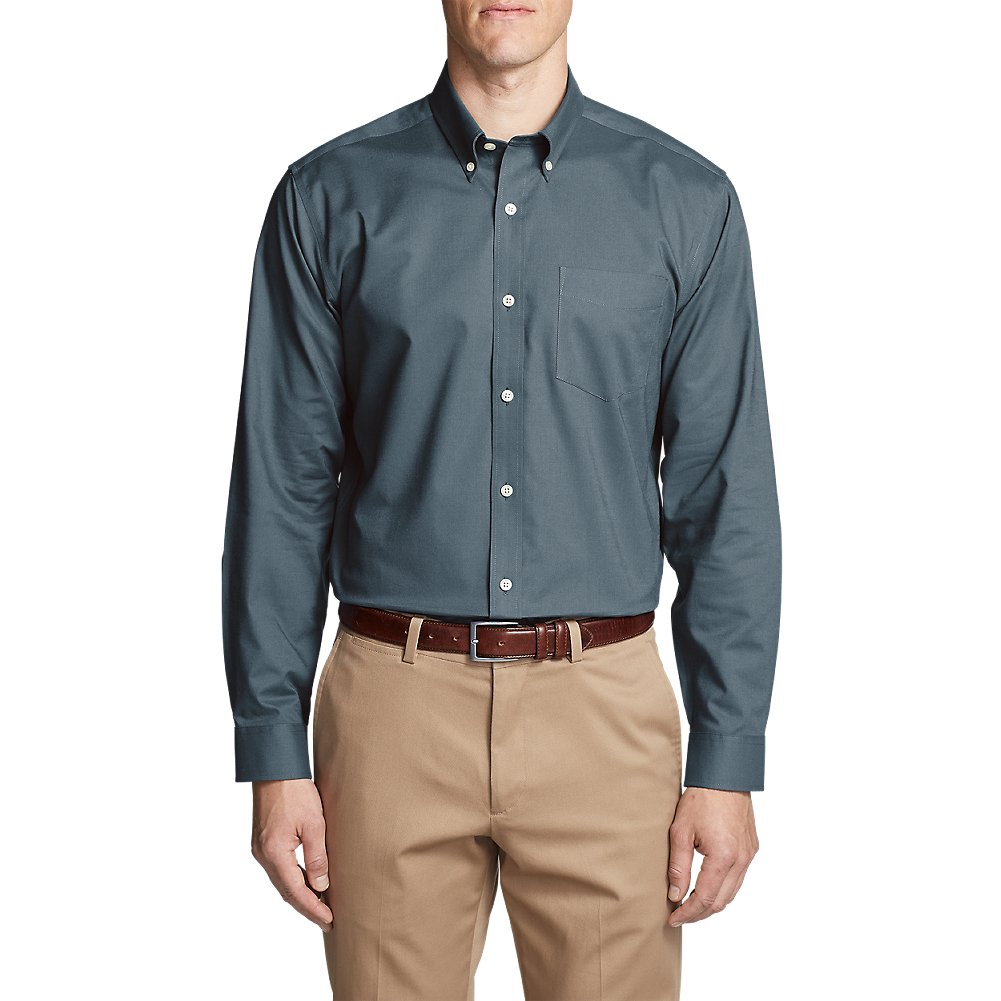 Eddie Bauer Men's Wrinkle-Free Relaxed Fit Oxford Cloth Shirt - Solid, Winter Bl