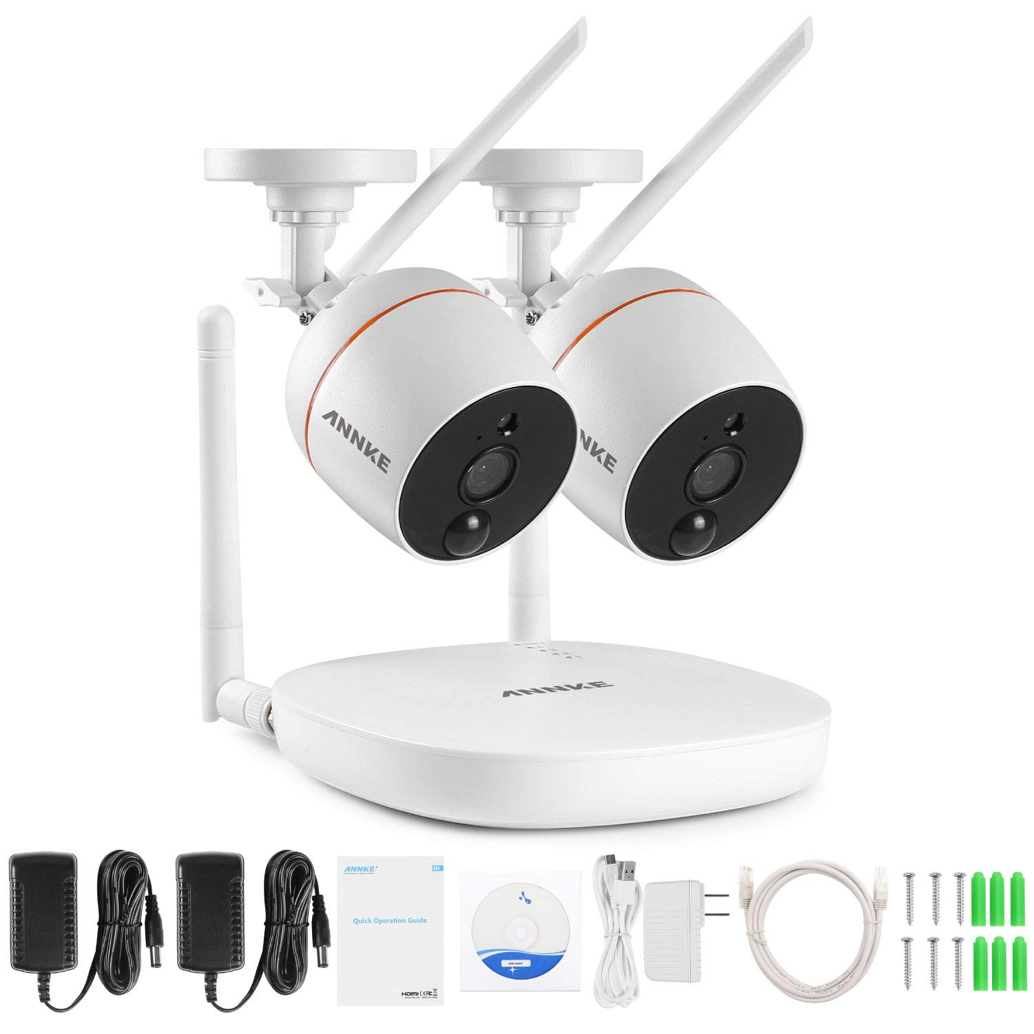 ANNKE Wireless Security Camera System, 4CH 1080P Mini NVR with 2pcs 2.0MP WiFi Outdoor Surveillance Cameras, 2-Way Audio, PIR Motion Detection, 100ft Night Vision, APP Smart Alerts