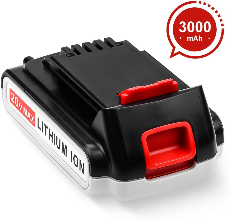 [Upgraded to 3000mAh] Replacement for Black and Decker 20V Battery 3.0Ah Lithium Ion Max LBXR20 BXR20-OPE LBXR2020 LBXR20 LB20 LBX20 LB2X4020