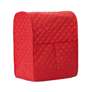 Kitchen Aid Mixer Cover, Hanhan Leather Stand Mixer Cover Organizer Bag Gadget Tool with Diamond Collection for Kitchenaid to Keep Clean and Safe (Red)