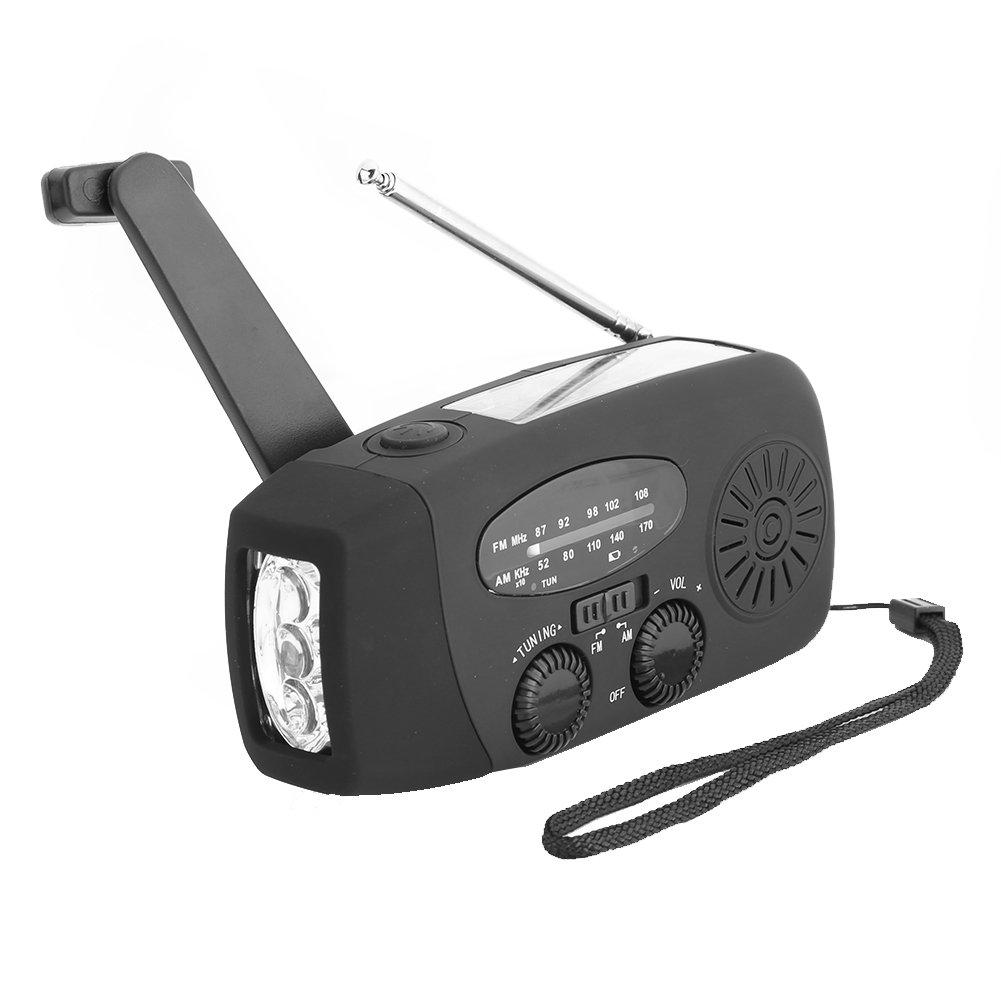con 3 LED Linterna y Cargador de tel/éfono m/óvil Radio de manivela con energ/ía Solar Radio de Alerta meteorol/ógica de Emergencia Radio Am//FM