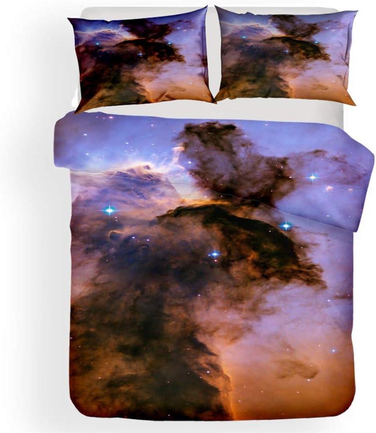 LanS Universum Sternenhimmel Rosennebel Bettbezug Bettw/äsche Anzug Keine Allergie Bettbezug und Kissenbezug Bettbezug + 2 Kissenbez/üge A,Single-135x210cm Weich dreiteiliger Bettw/äsche