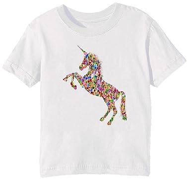 Erido Vistoso Unicornio Niños Unisexo Niño Niña Camiseta Cuello Redondo Blanco Manga Corta Todos Los Tamaños Kids Unisex Boys Girls T-Shirt White: ...
