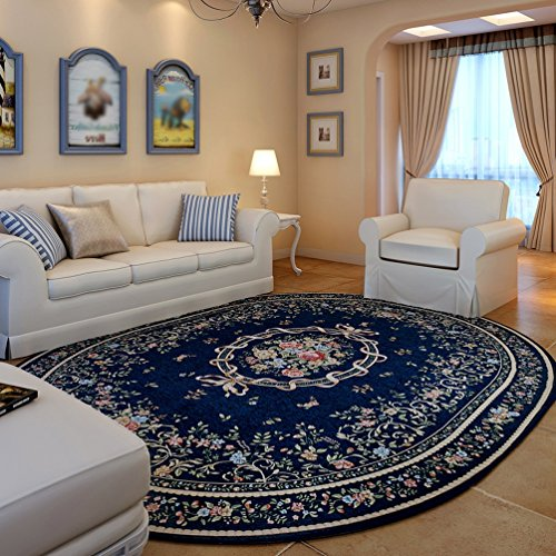 WAN SAN QIAN- Economy Nordic Living Room Oval Carpet Country Style Home Carpet Bedside Blanket Coral Villi Carpet Rug ( Color : Blue , Size : 200x250cm ) by Rug