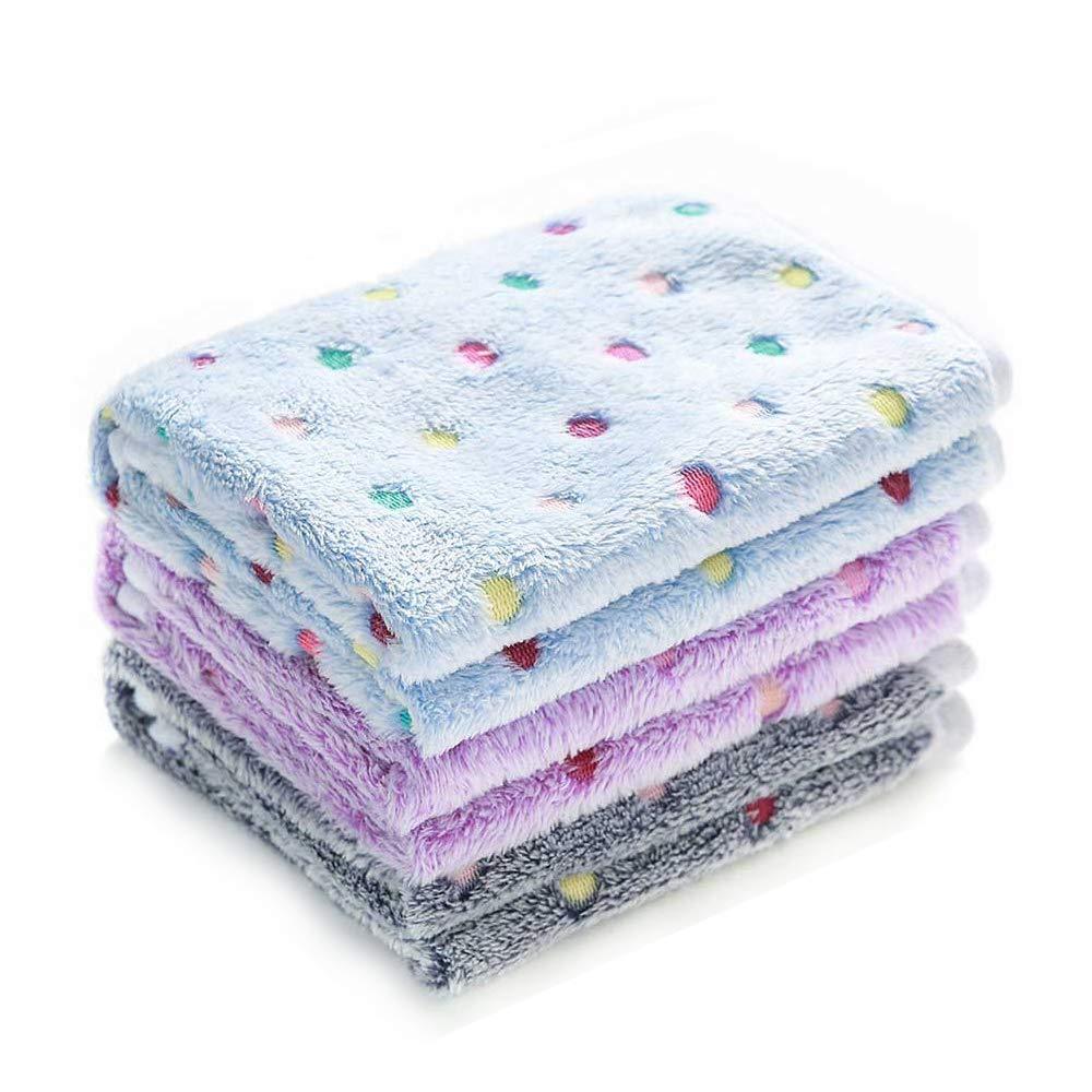luciphia 1 Pack 3 Blankets Super Soft Fluffy Premium Fleece Pet Blanket Flannel Throw for Dog Puppy Dot Small