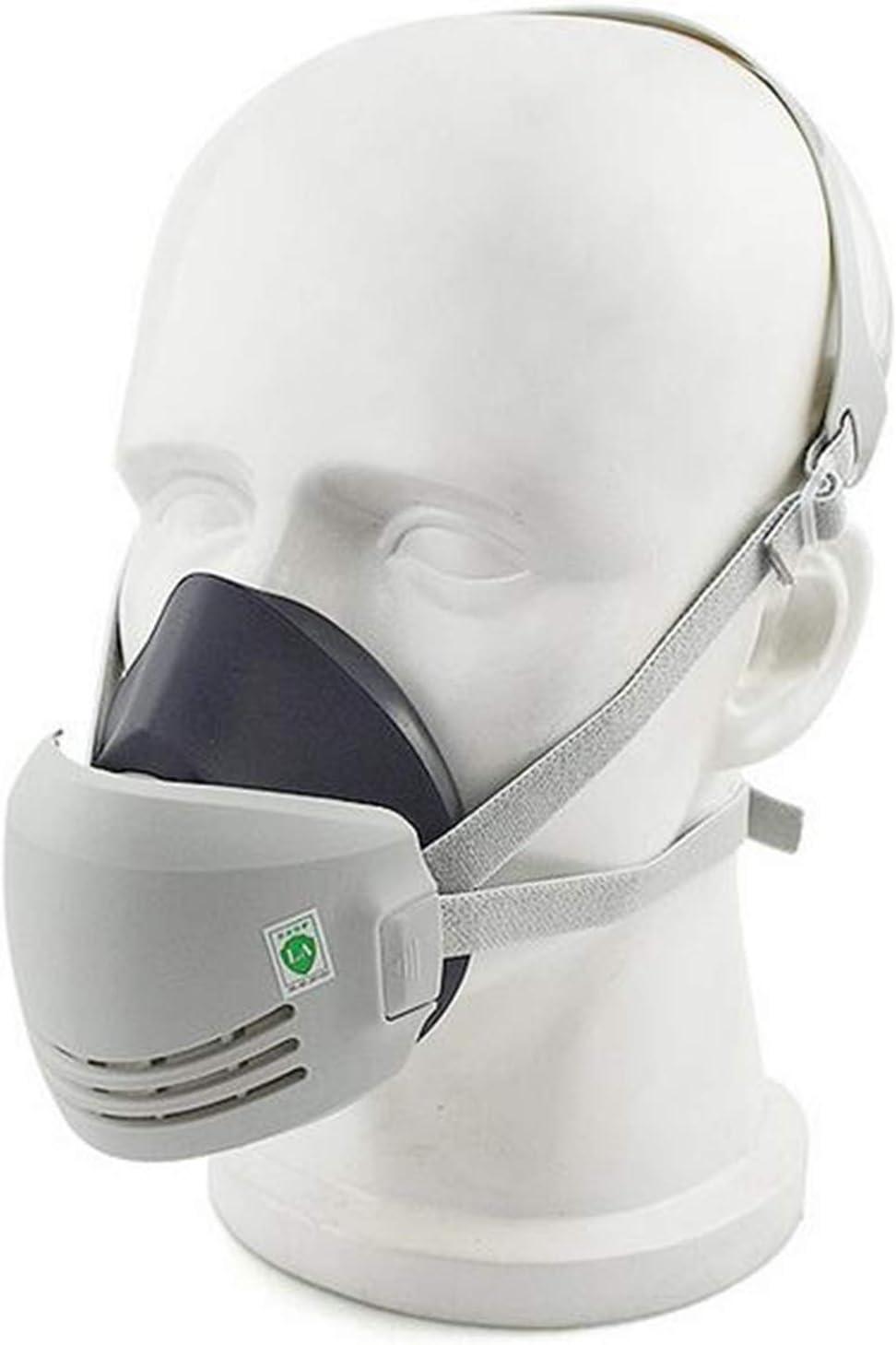 Máscara industrial de seguridad de soldadura de protección contra el polvo de pintura química contra el polvo reutilizable (1pcs goma máscara anti-polvo + 10 piezas de filtros de algodón)