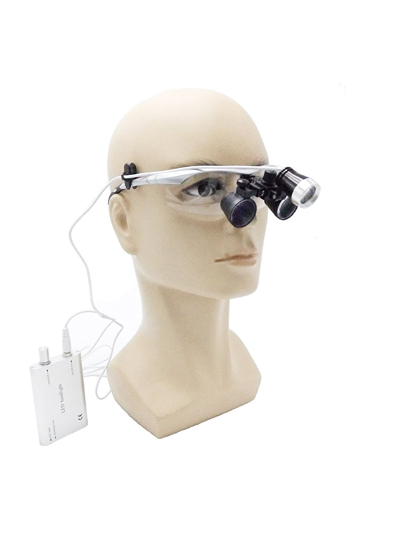 Zgood Portable Surgical Binocular Loupes 2.5X420mm Optical Glass + 3W LED HeadLight (Silver)