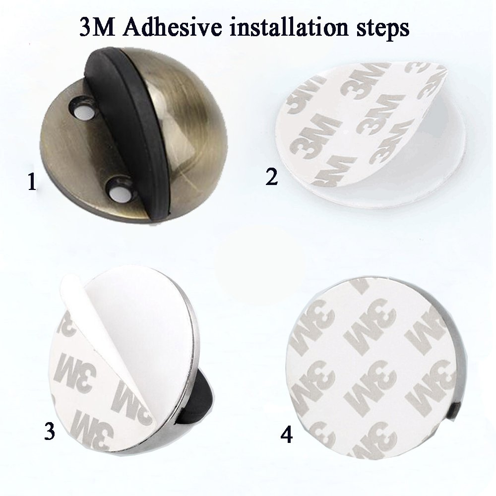 gudui Door Stopper,(5Pack) Stainless Steel Door Stop, Sound Dampening Bumper Door Holder Floor Doorstops Wall Protetor, 3M Double-Sided Adhesive Tape [No Need to Drill] (Black) by Gudui (Image #4)