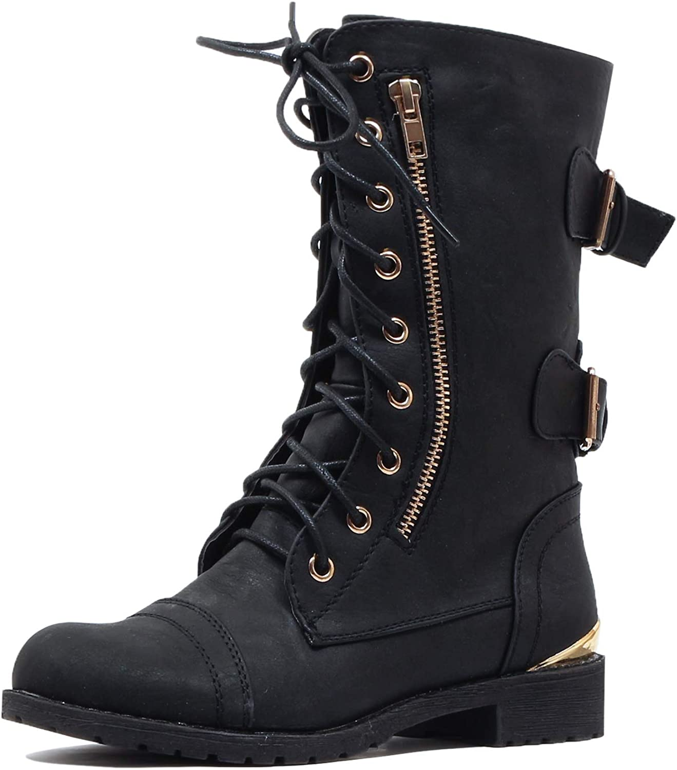 Guilty Heart Womens Cairo Military Lace Up Combat Boots Boots M US, Blackv2 Pu 10 B