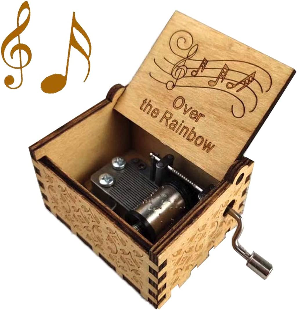 QianQian Somewhere Over The Rainbow Music Box, Tiny Hand Crank Wooden Music Boxes,Antique Engraved for Lover,Boyfriend,Girlfriend,Husband,Wife, Christmas, Valentine's Day Presents