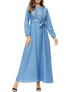 c1385f5dff1032 TAAMBAB Muslime Robe Frau Beiläufig Lange Kleider Islamisch Kleidung -  Mehrfachauswahl Lange Ärmel Party Abend Kleid
