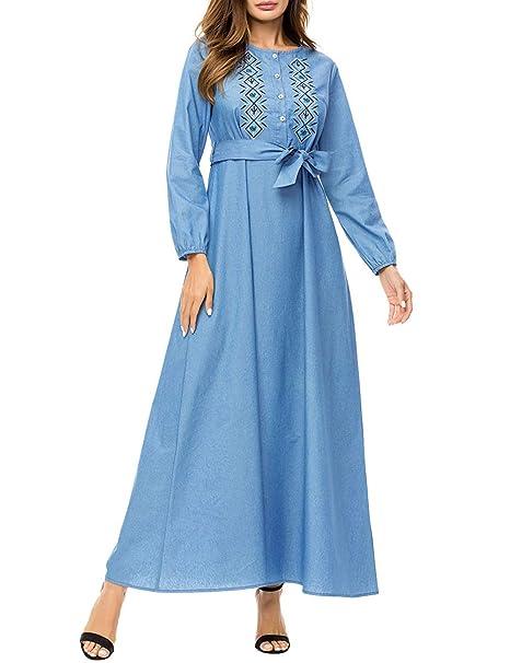 TAAMBAB Musulmanes Bordado Suelto Vestidos Islámico árabe Mujeres Batas - Manga Larga Casual Fluidez Maxi Vestidos: Amazon.es: Ropa y accesorios
