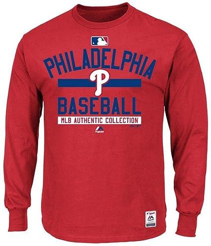 33d4796f768 Majestic Philadelphia Phillies MLB Mens Long Sleeve Color Block Shirt Red  Big   Tall Sizes (