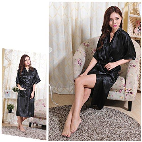Kimono da Donna Camicie e BOYANN Allattamento Notte Vestaglie e Raso Accappatoi Lungo Nero Pigiami qPUtR8