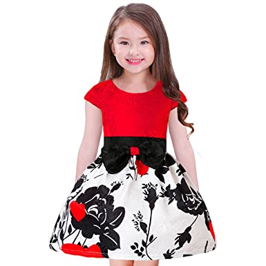 8da14e68f4e AnKoee Girls Floral Print Summer Dresses Toddler Short Sleeve Baby Girl  Princess Cotton Dresses Casual Sundress  Amazon.co.uk  Clothing