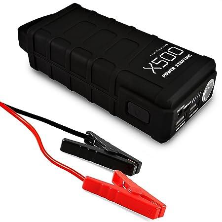 AFTERPARTZ® X500 Mini Auto Starthilfe 12000mAh 500A 12V Notstart PowerBank USB Output LED Leuchte EU-Ladegerät Autoladekabel