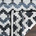 Safavieh Montauk Collection MTK120A Handmade Flatweave Geometric Ivory Blue and Black Cotton Area Rug (5' x 8')
