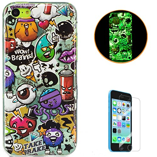 iPhone 5C Soft Silicone Gel Case Luminous Effect KaseHom [with Free Screen Protector] Green Glow in the Dark Colourful Cartoon Rubbish Pattern Jelly Clear TPU Skin Durable Cover Bumper Shell ()