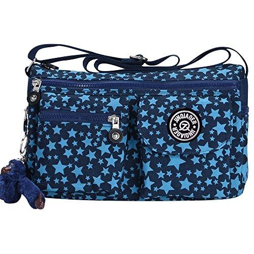 Shoulder Satchel Zip Fashion Bags Handbag Star New Star Wiwsi Blue Blue Crossbody Women Nylon Small q1y0wB