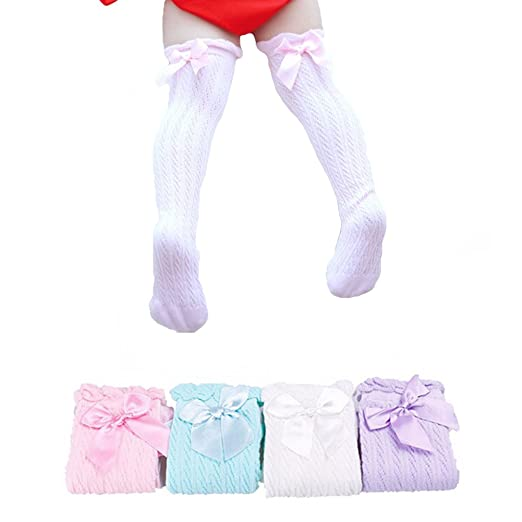 9a0f10f70 Girls Knee High Socks Lace Bows Cute Stockings Leg Warmers For 1-6 Years (