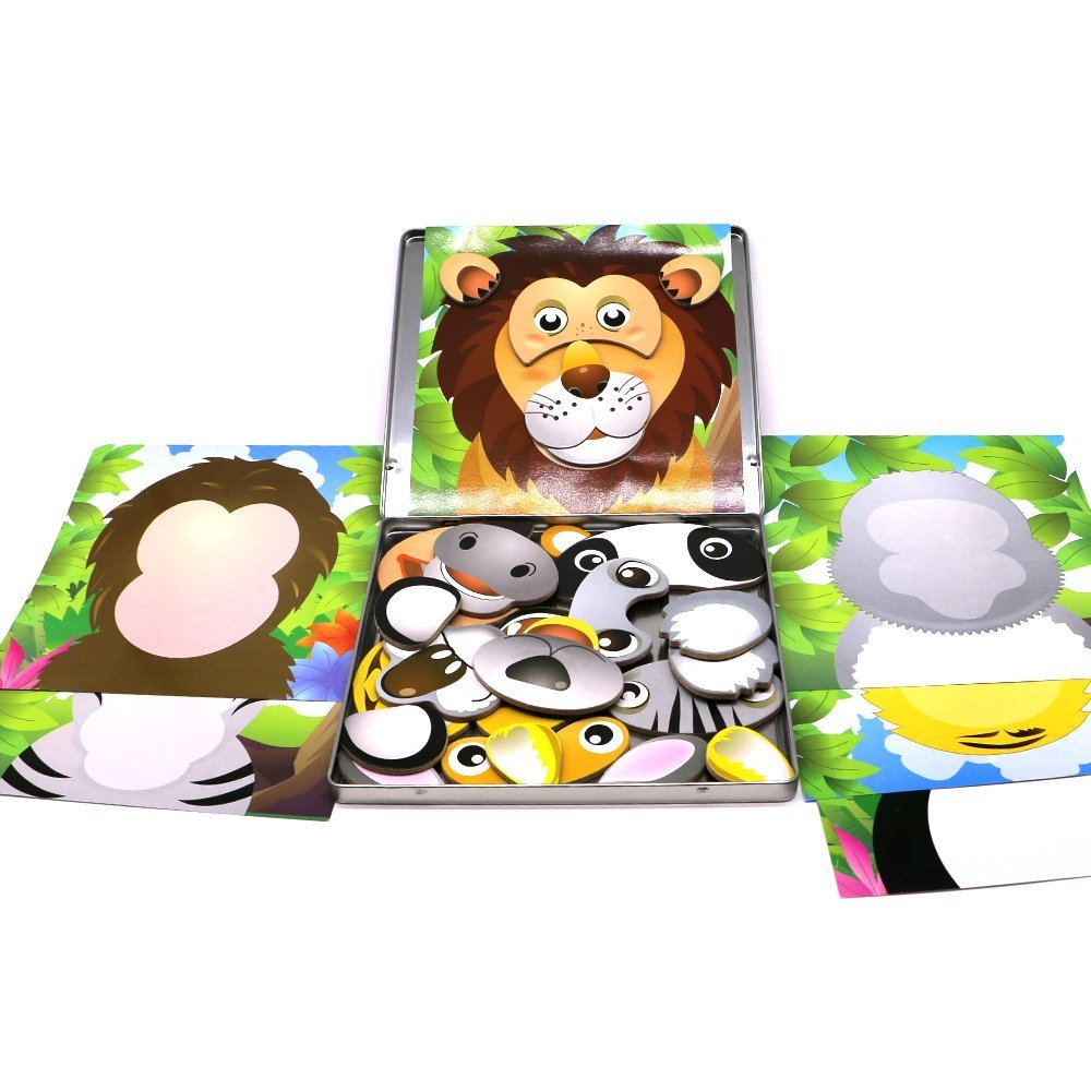 Toddler Travel Toys Jungle magnet faces